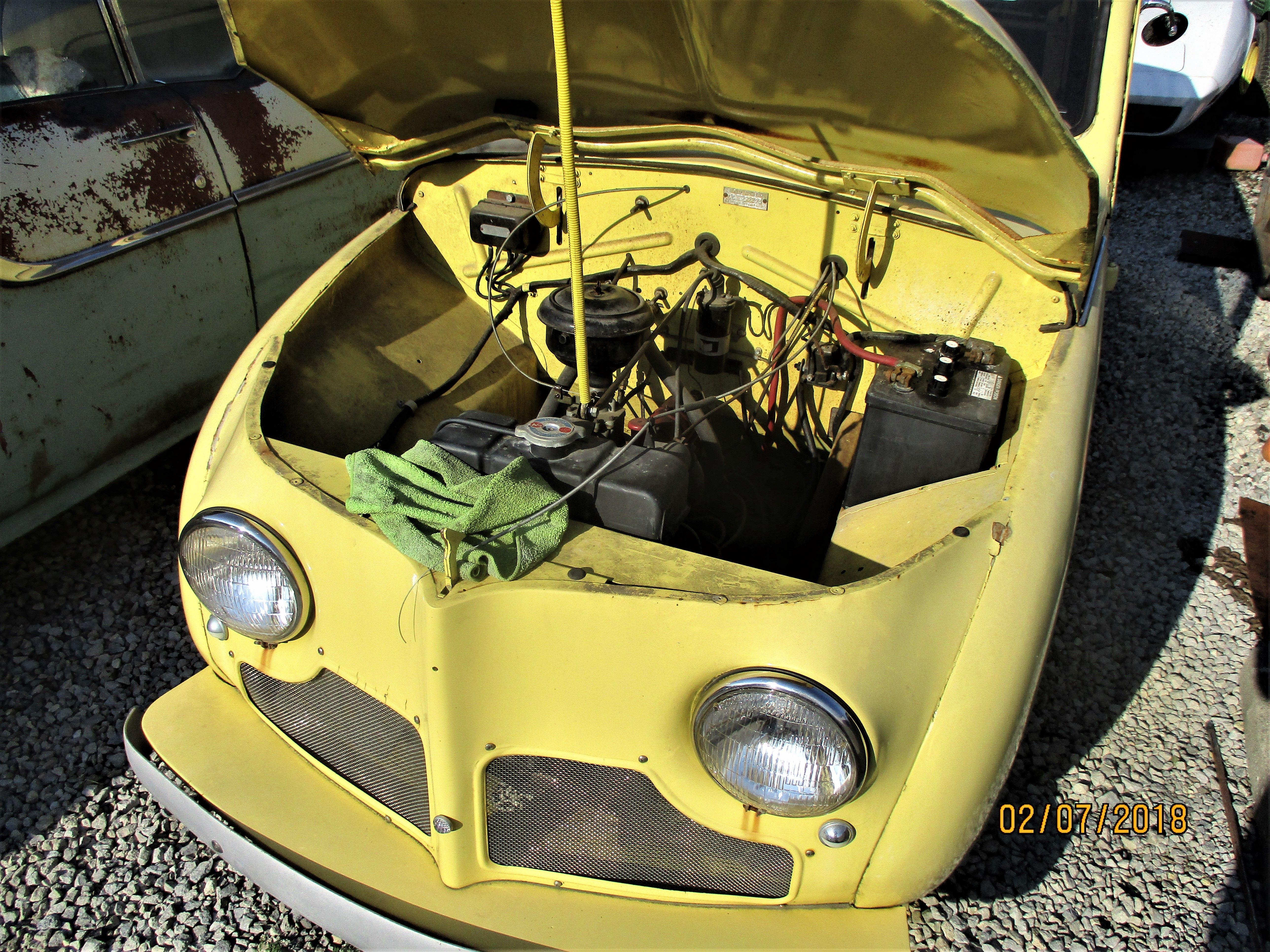 1952 Crosley station wagon with hood open. Photo taken