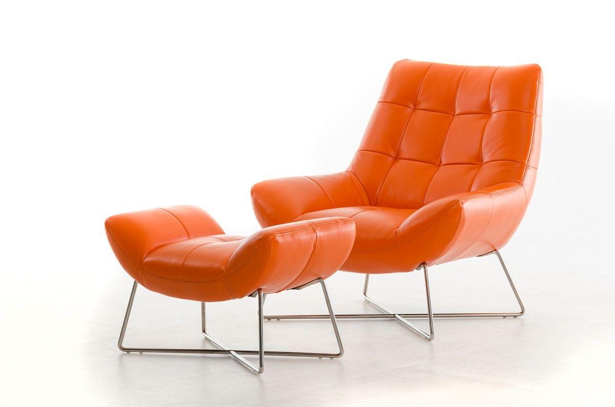 Pleasant Divani Casa Istra Modern Orange Leather Lounge Chair Machost Co Dining Chair Design Ideas Machostcouk