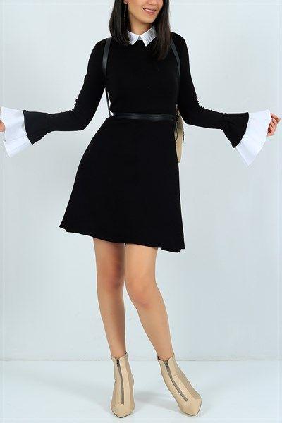 42,95 TL Kol Ve Yaka Detay Taba Triko Elbise 24048B   Modamızbir