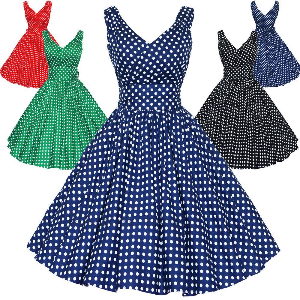 daea526e354c Maggie Tang 50s Pinup Retro VTG Polka Dots Housewife Rockabilly Swing Dress  K514 | eBay