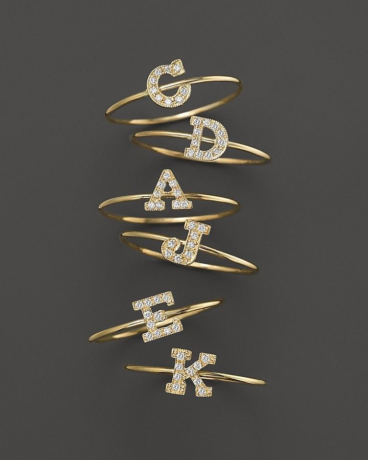 Zoe Chicco Zoë Chicco 14K Yellow Gold Pavé Diamond Initial Ring, .04-.06 ct. t.w.