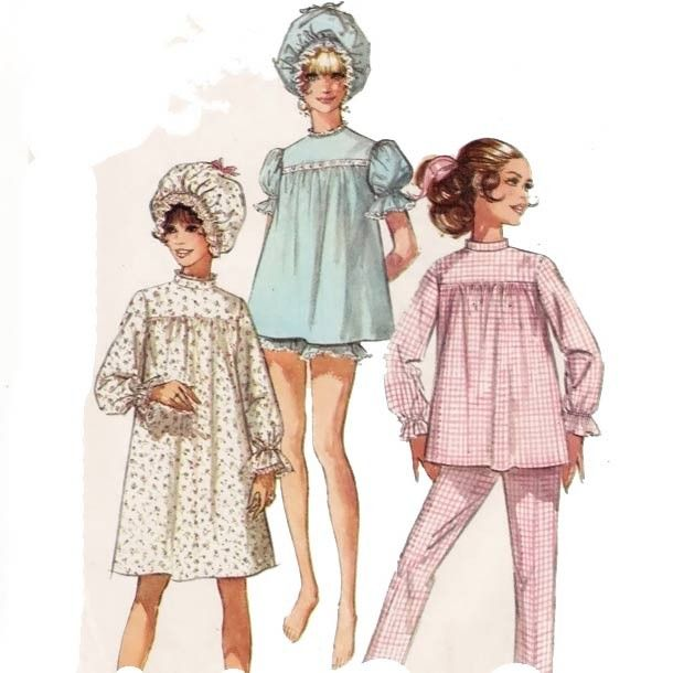 Baby Doll Pajamas, Baby Dolls, Nightgown Pattern, Bonnet Pattern, Vintage  Nightgown, 6ece1d87d5