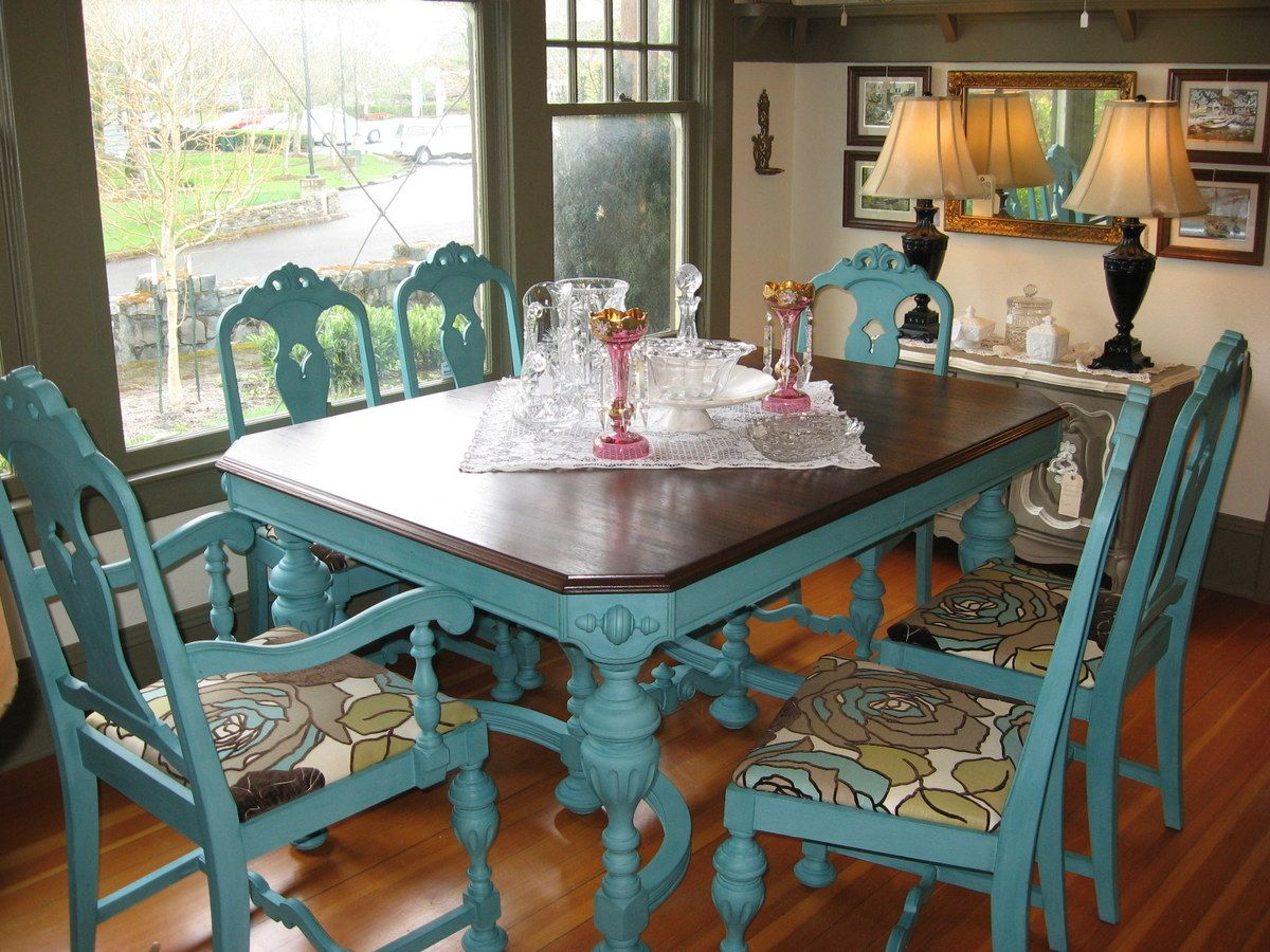 great idea to give an old kitchen table or chairs a new look. Interior Design Ideas. Home Design Ideas