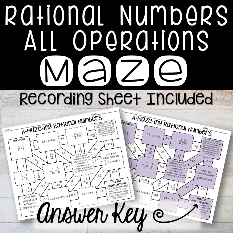Rational Numbers Maze All Operations from Count On Me in