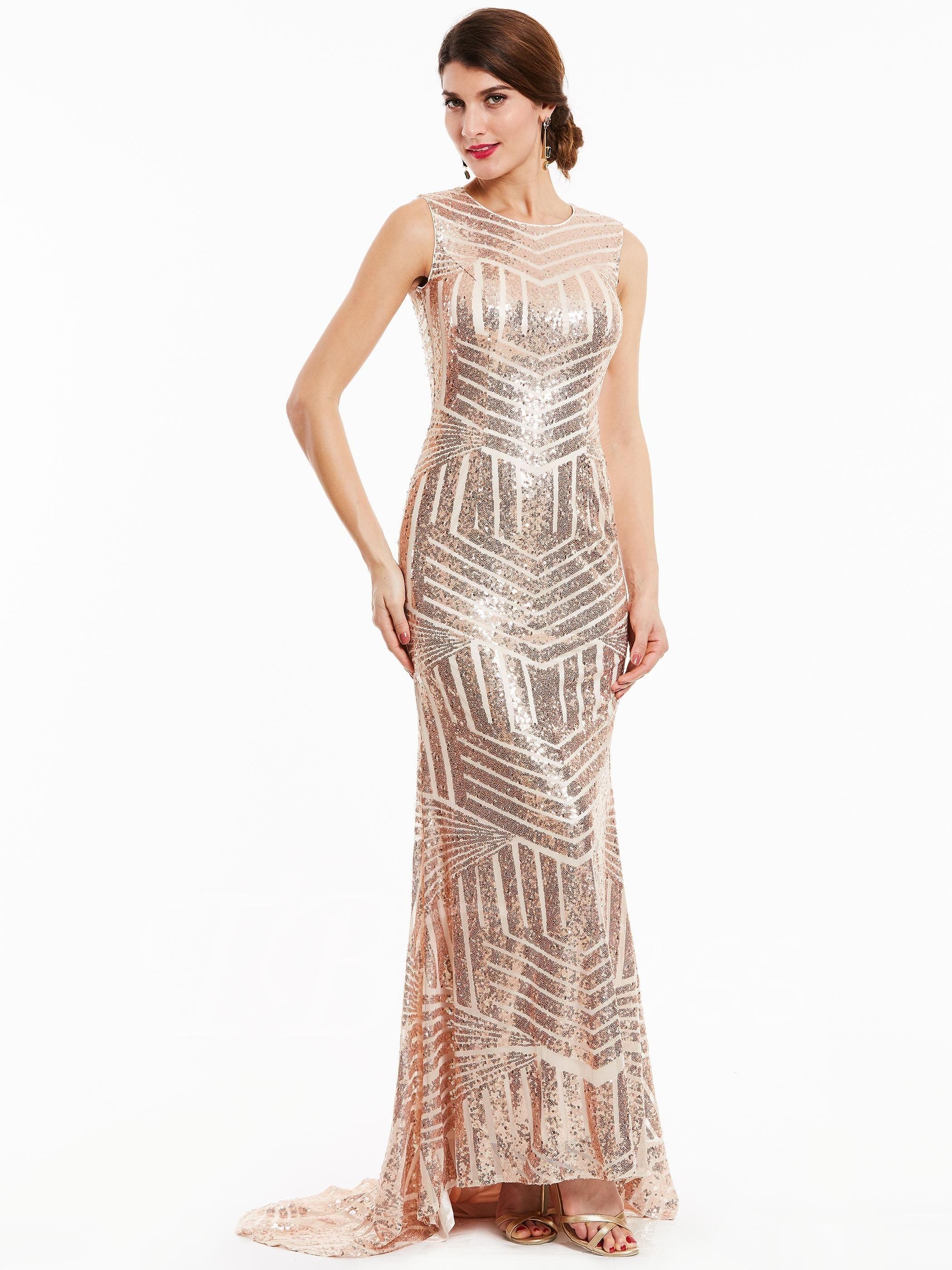 Tbdress tbdress scoop neck backless sequins mermaid evening dress