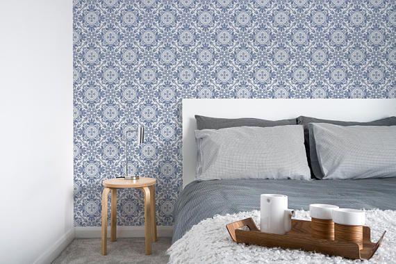 Removable Wallpaper Peel And Stick Wallpaper Wall Paper Wall Etsy Removable Wallpaper Scandinavian Wallpaper Portuguese Tiles