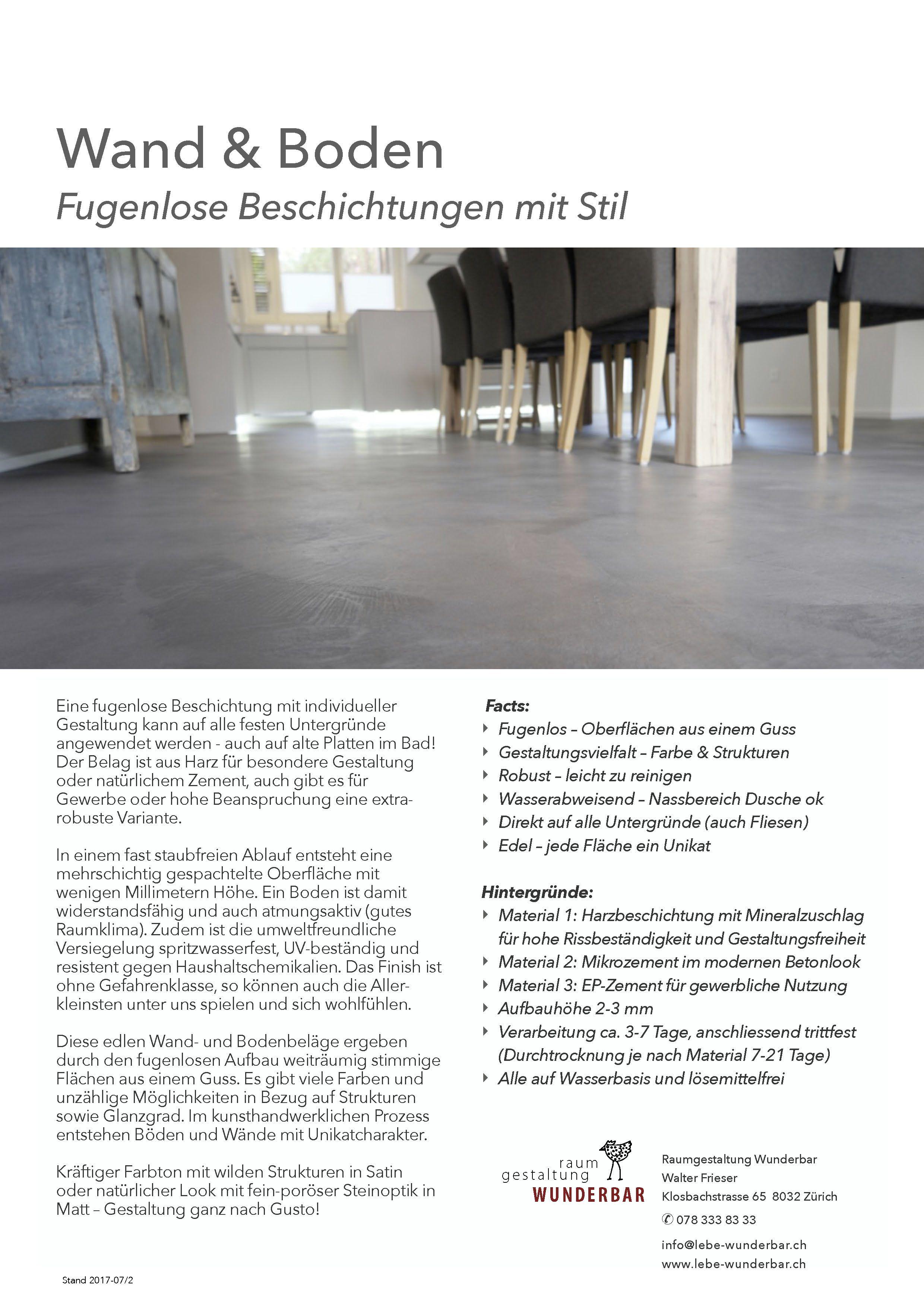 Info Fugenlose Wand Bodenbelage Handwerk Zurich Von
