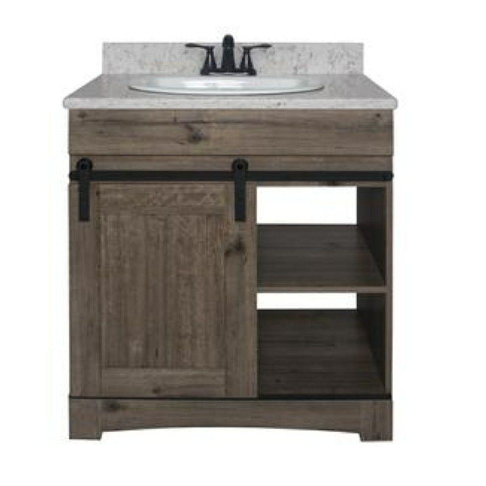 Dakota 30 W X 21 D Cottage Sliding Barn Door Vanity Model Number Ct301 Small Cabin Bathroom Rustic Bathroom Vanities 30 Vanity [ 978 x 978 Pixel ]