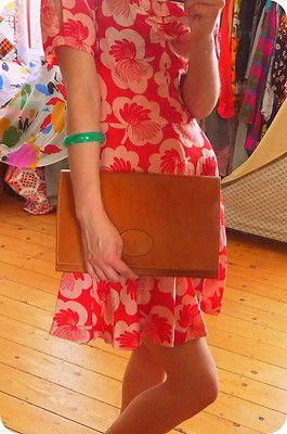 VINTAGE BREE Tasche Leder Clutch Unterarmtasche Pochette Cognac Braun Hippie !!   eBay