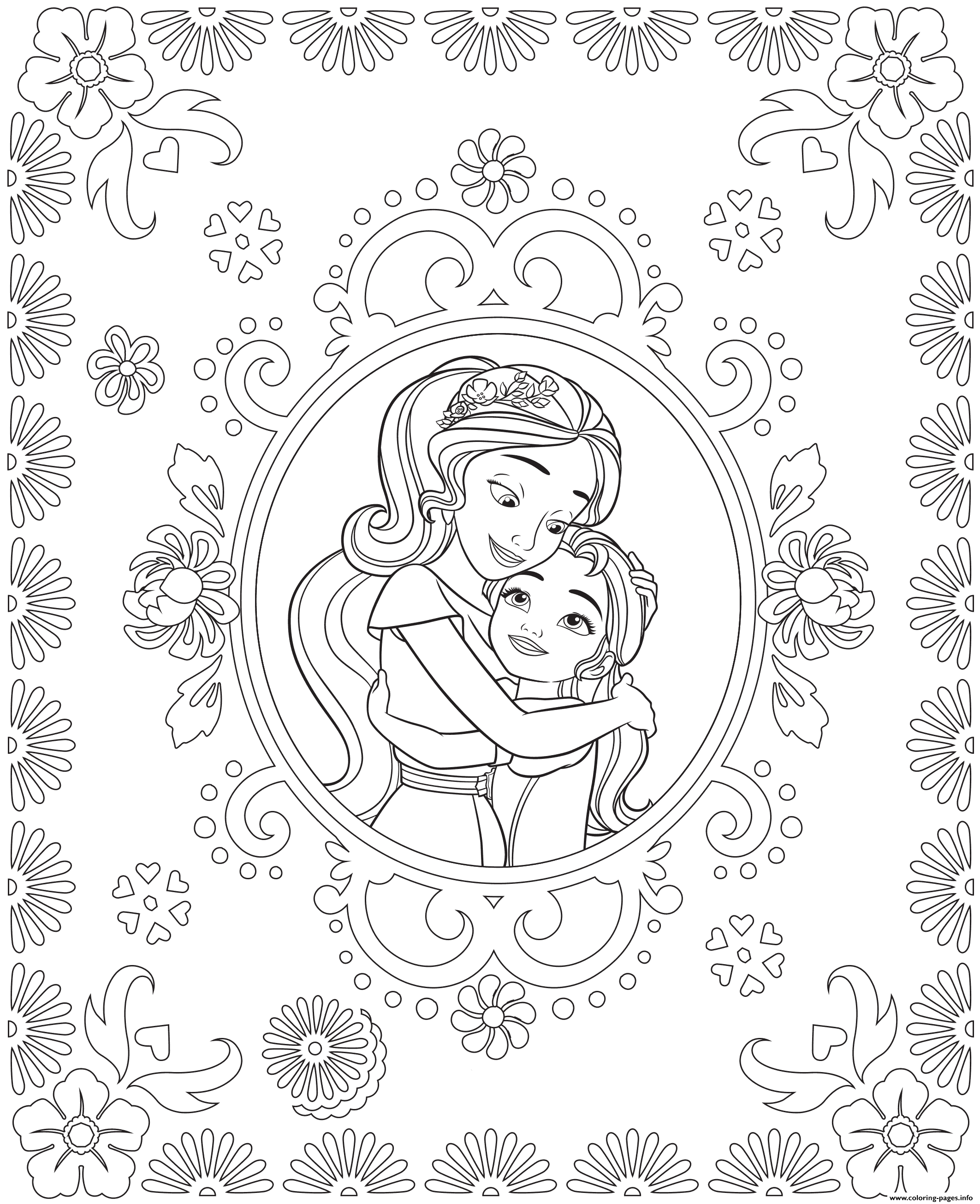 Disney princess birthday coloring pages - Print Princess Elena Of Avalor And Sister Isabel Colouring Page Coloring Pages