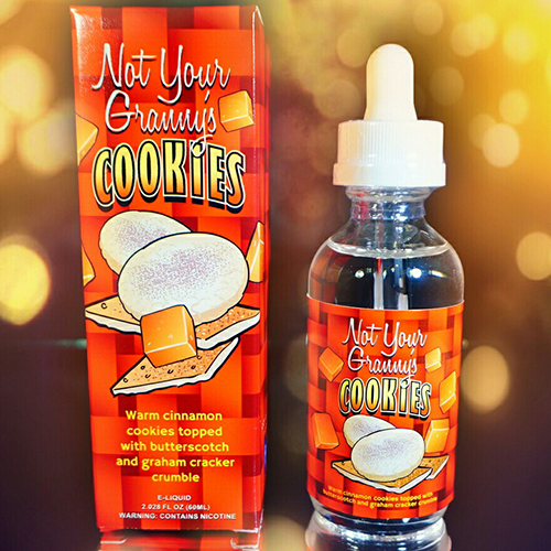 Not Your Granny's Cookies - Okay so we all know granny makes the best cookies, but who says there isn't room for improvement. Warm cinnamon cookies topped with smooth butterscotch and a light graham cracker crumble, Not Your Granny's Cookies is a must try.MAX VG
