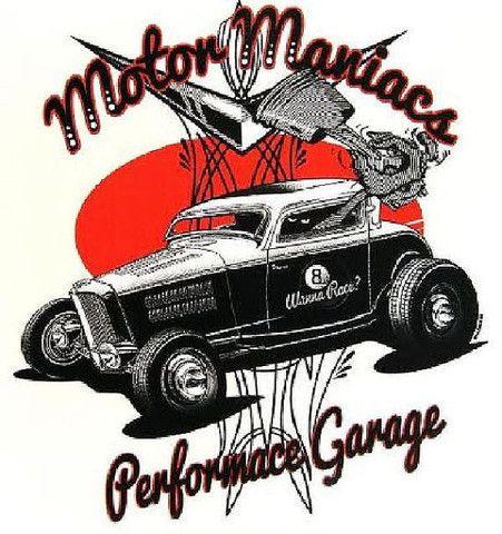 Vintage Motor Maniacs Performance Garage Mens Quality Car T Shirt 17038