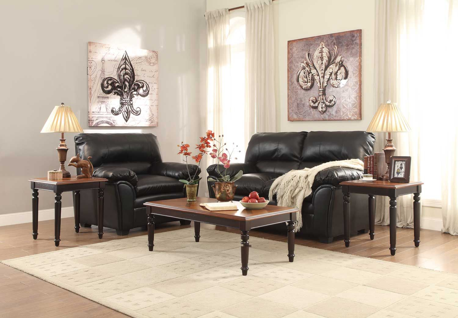 Homelegance Pitman 3-Piece Occasional Tables - Black and Cherry Perfect in your cozy home, the 3-piece Pitman Collection has the country aesthetic that defines your personal style. The traditional turned legs and lattice Inlay Veneer tops are enhanced by the black and cherry Finishes that grace them, respectively.