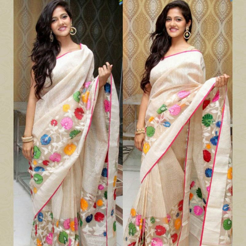 Wedding White Sarees Online: Chanderi Cream Embroidered Party Wear Saree #womensfashion