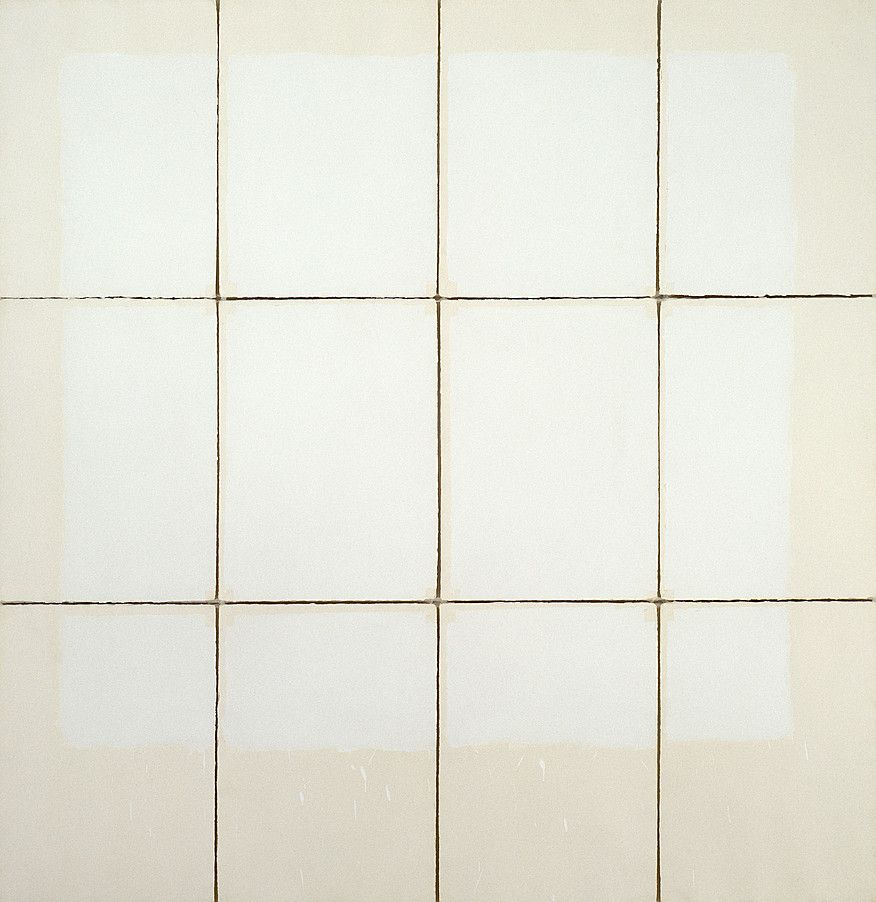 Robert Ryman: Classico IV, 1968. Acrylic on twelve sheets of handmade Classico paper mounted on foamcore. Overall dimensions variable, approximately: 231.1 x 227.3 cm. Solomon R. Guggenheim Museum, New York. Ryman attached a configuration of heavy, creamy white sheets of the paper to a wall with masking tape, painted the sheets with a shiny white acrylic paint, removed the tape when the sheets were dry, mounted them on foamcore, and reattached them to the wall (Jennifer Blessing).