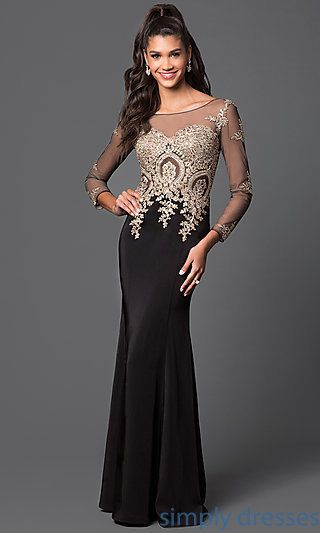 DQ-8999 - Long Sleeved Floor Length Lace Applique Prom Dress ...