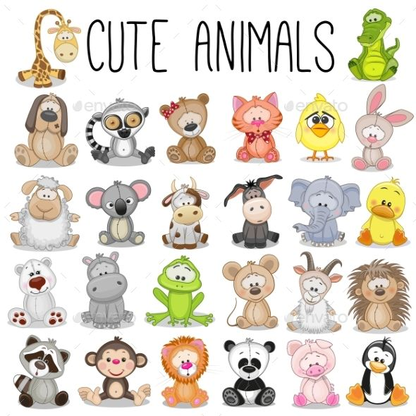 Set Of Animals Cute Animals Animal Clipart Cute Drawings