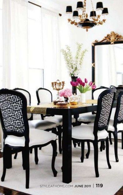 A Divine Dining Room. Black and white with gold accents. Interior ...