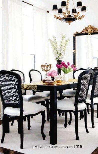 Santi Royal Home Black Chic * Preto Chic  Interiors  Pinterest Custom Black And White Dining Room Table Inspiration Design