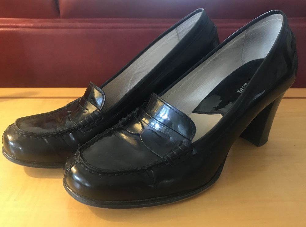 957f82d039af Michael Kors black patent leather Penny Loafer block Heels 8.5 Bayville 8  1 2