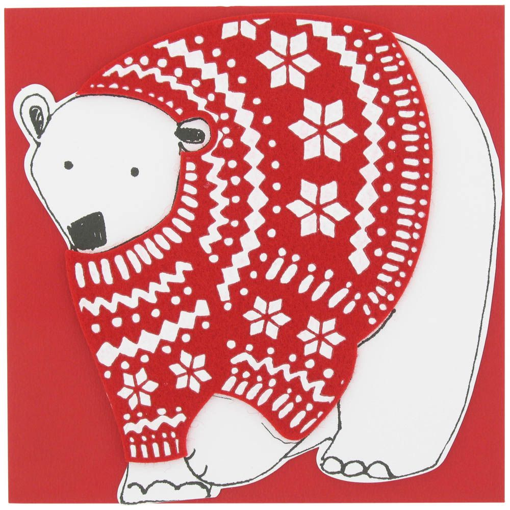 In With The New Polarbear Christmas Card From Paperchase Happy