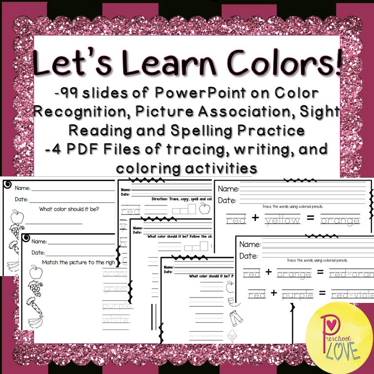 Colors Worksheet and Powerpoint Bundle Color worksheets