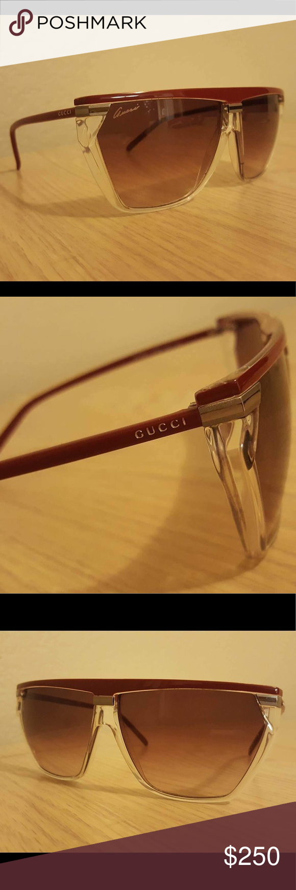 6d515ddf40e Authentic GUCCI Red + Crystal Sunglasses
