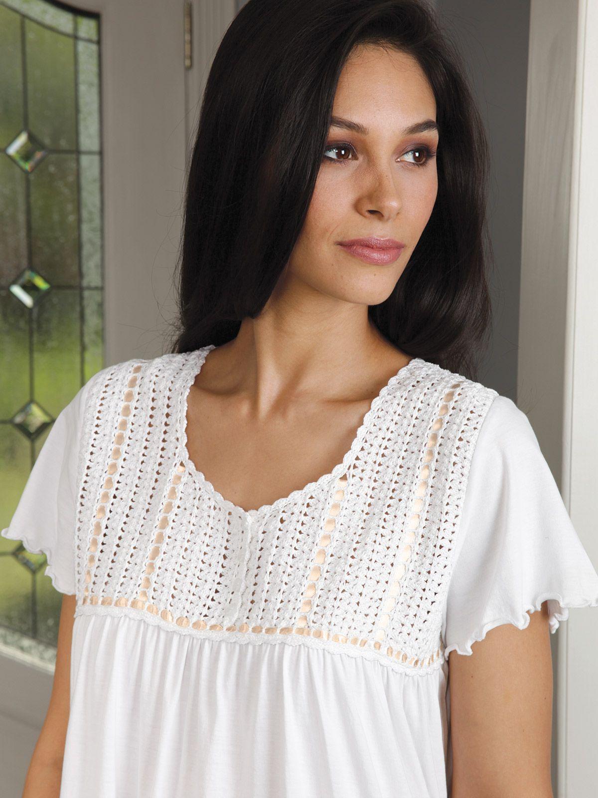 72f0a52bca Cotton Nighties, Luxury Nightwear, White Gowns, Night Gown, Anthropologie,  Crochet Top