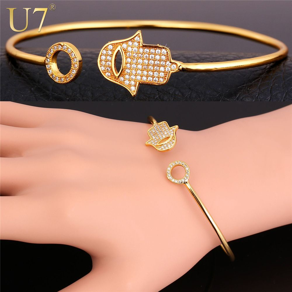 plated cuff pin jewelry hamsa for lucky bangle bracelet of fatima wholesale trendy hand gold