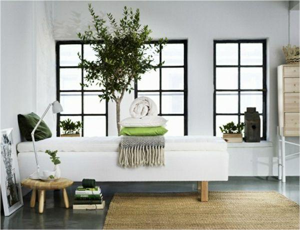 Skandinavisch Einrichten Schlafzimmer Bett Rattan Teppich Zimmerpflanzen Skandinavisches  Design