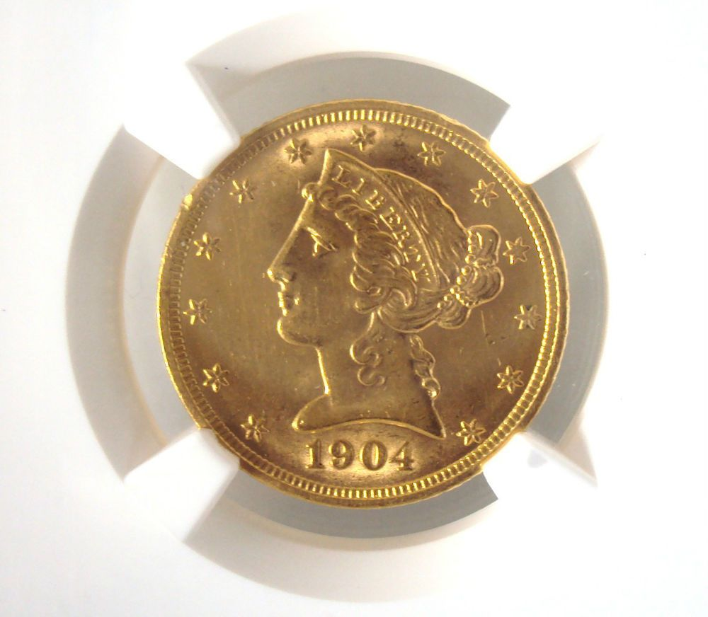 1904 $5 Five Dollar Liberty Head Half Eagle Gold Coin MS62  SEE MORE - http://www.10dollargoldcoin.net/liberty-head-dollar-gold/