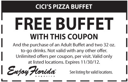 graphic relating to Cici's Pizza Printable Coupons named CiCis Pizza: No cost Buffet Printable Coupon ref-coupon