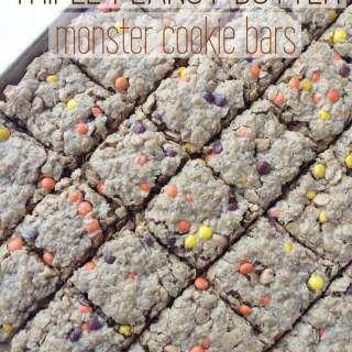 Triple Peanut Butter Monster Cookie Bars