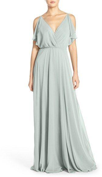 a177b14e88e Women s Jenny Yoo  Cassie  Flutter Sleeve Chiffon A-Line Gown ...