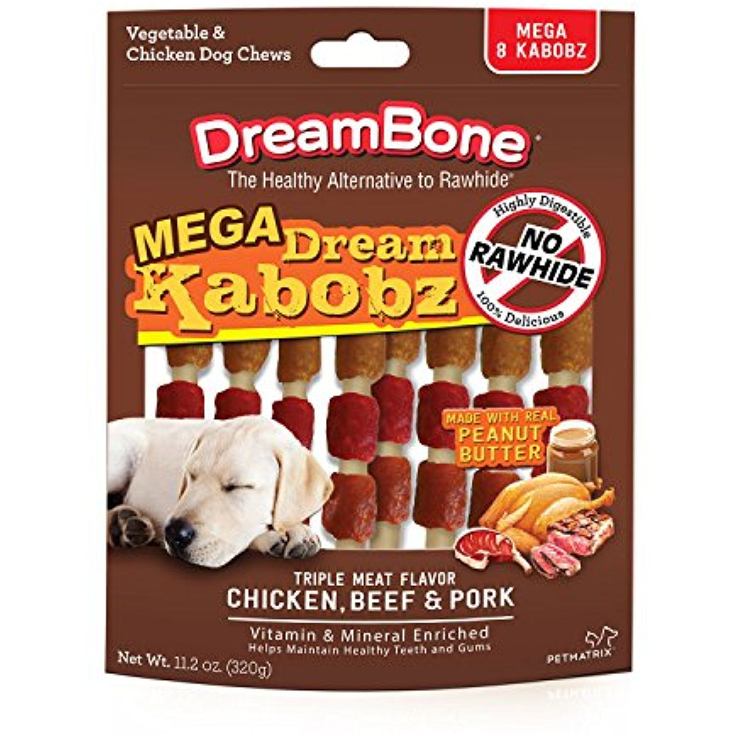 DreamBone Mega Kabobz Peanut Butter 8 Mega Kabobz per bag (1 Bag) ~ You can click image for more details. (This is an affiliate link and I receive a commission for the sales)