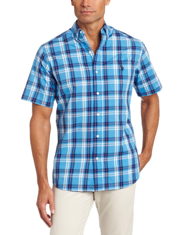Us Polo Assn Mens Short Sleeve Plaid Shirt Price 4600