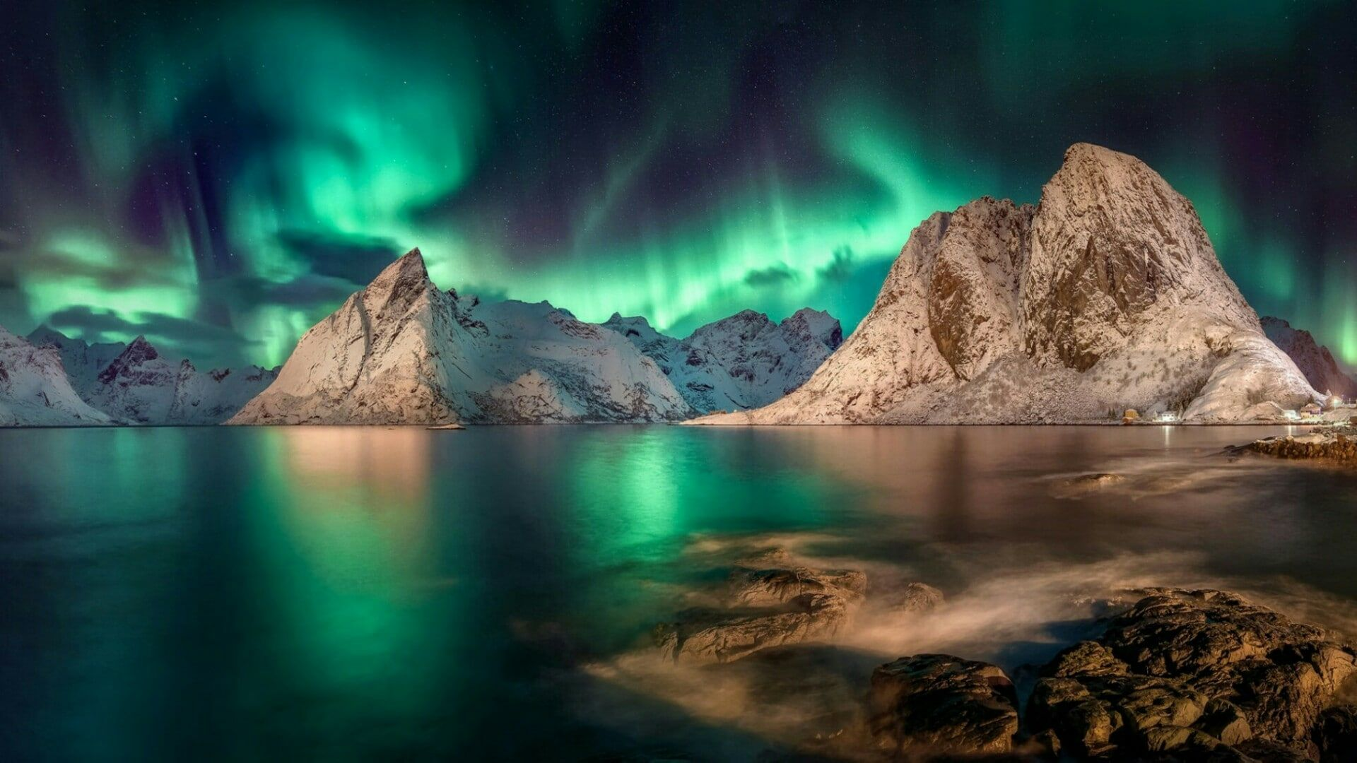 Landscape Polar Lights Aurora Borealis Reinefjord Norway Lofoten Hamnoy Rock Fjord Northern Lights Mountain Wat In 2020 Norway Landscape Polar Light Landscape