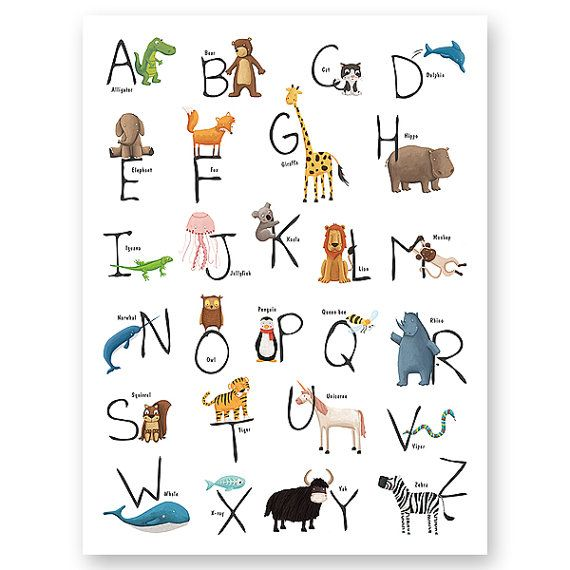 Lamina Abcedario Animal Alfabeto Con Animales Por Watotokids Animal Alphabet Alphabet Art Alphabet Print