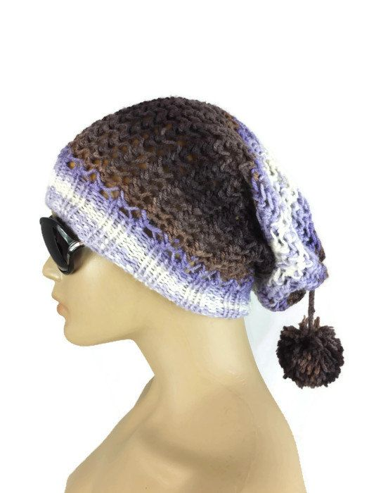 Very Slouchy Hat for Women or Girls in Black Medium Large  Large Crocheted Winter Hat in Black AcrylicWool Yarn