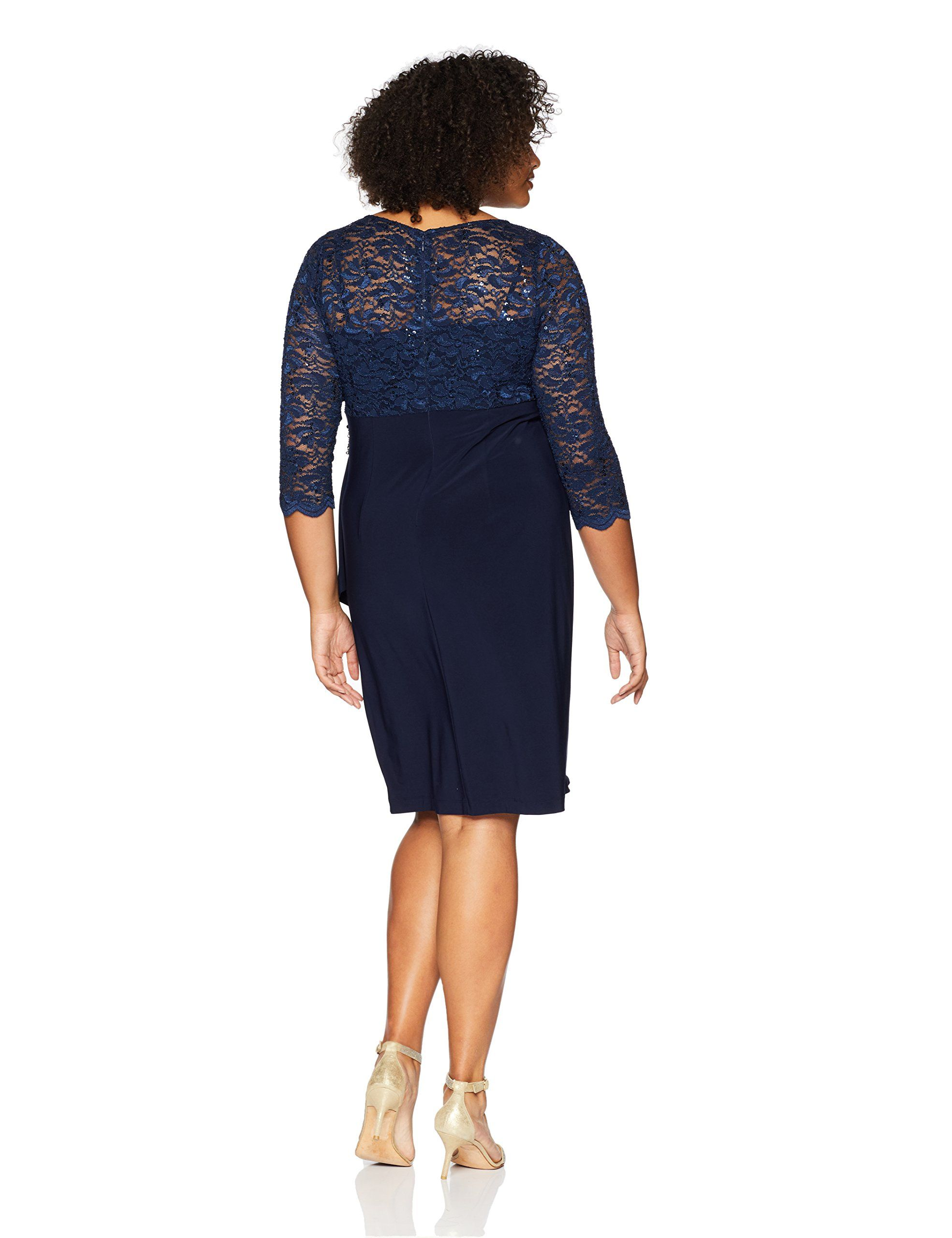 49dd8dadb6c9c Alex Evenings Womens Plus Size Shift Dress with Cascade Overlay Skirt Navy  16W -- Find out more about the great product at the image link-affiliate  link.