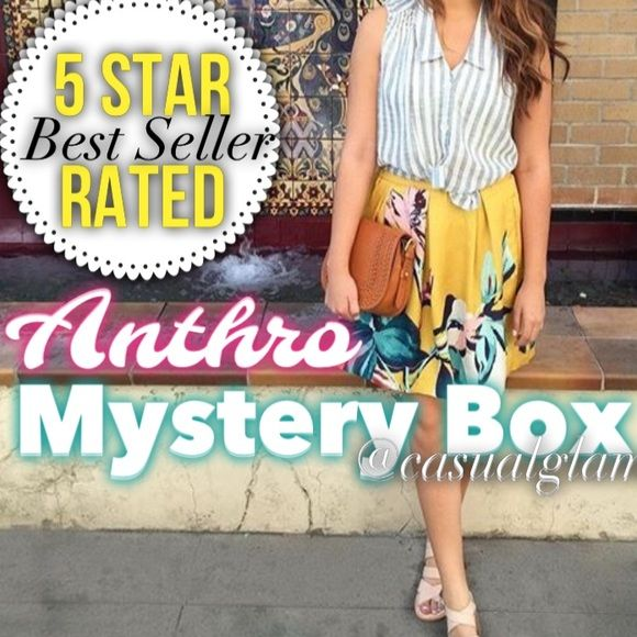 ANTHRO MYSTERY BOX LTHIS IS THE FIRST AND ORIGINAL LISTING FOR ANTHROPOLGIE MYSTERY BOX, AN ORIGINAL IS ALWAYS WORTH MORE THEN A COPY et me funk you up! From the quirky shoes to fun bold jewelry .... You will look fun, vintage , romantic but we'll put together.  I imagine walking the 7 mile flea market looking for those one of kind pieces. Will send you a styled box with 4-5 pieces , let me send you a one of a kind mystery box. All items will be from Anthropologie and in great condition…