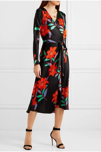 e9e4257ec92a Diane von Furstenberg - Tilly Floral-print Silk-satin Wrap Dress - Black