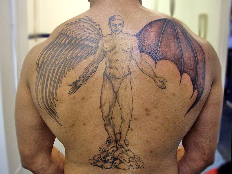 Comid18482half Angel Devil Tattoo Devil Tattoos 644x598 Pixelhtml
