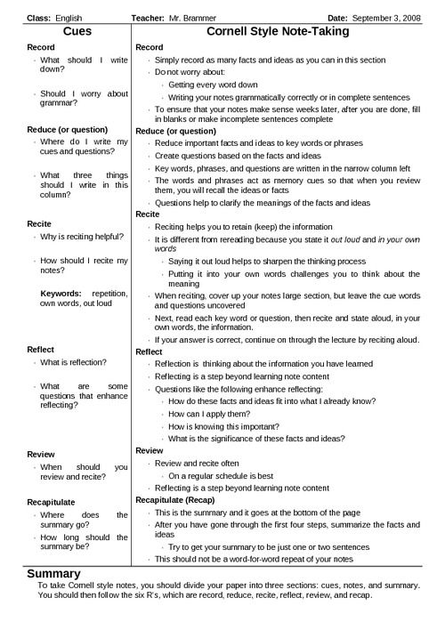 Cornell Notes Template  Cornell Notes High School And Note