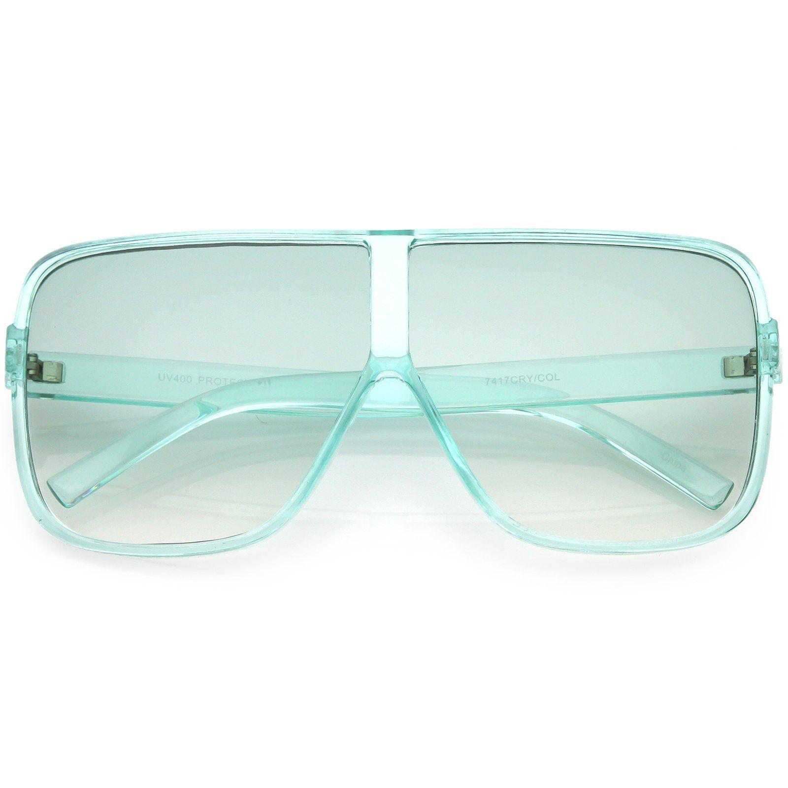 Oversize Translucent Square Sunglasses Flat Top Color Tinted Lens 69mm Colour Tint Flats Top Square Sunglasses