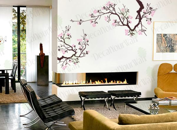 Cherry Blossom Wall Decal Living Room Bedroom Flower Removable Vinyl Sticker Flower Bedroom Wall Decals Living Room Cherry Blossom Wall Art