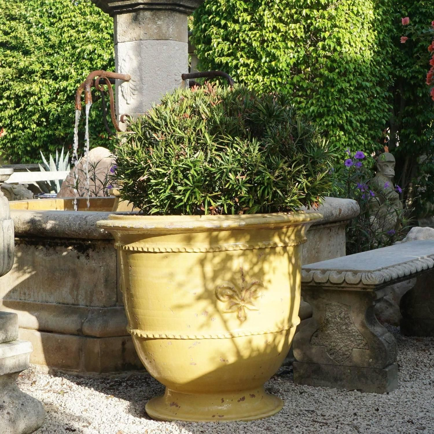 Planter Lys En Pot Pair Of Classic Yellow French Fleur De Lys Anduze Garden Urn