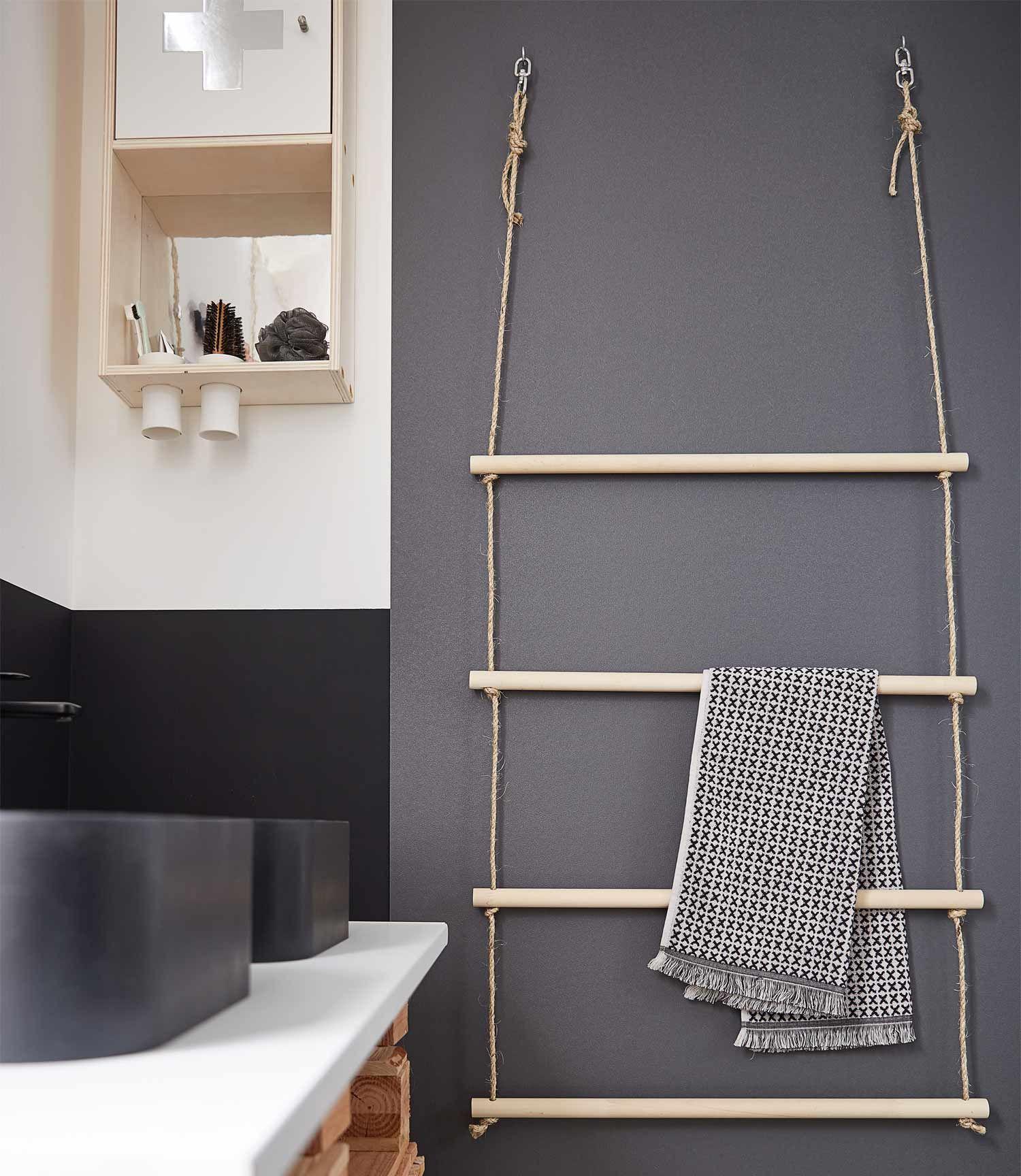 Epingle Par Martine Berton Sur Home Sweet Home Seche Serviette Diy Bambou Etagere Toilette