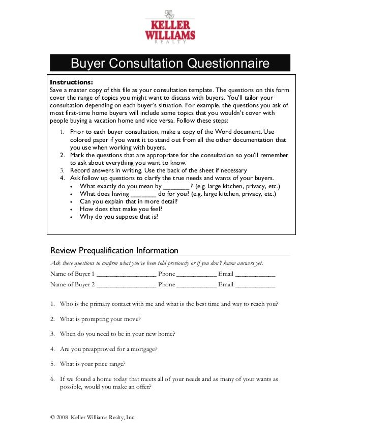 Buyer Consultation Questionnaire Instructions Save A Master Copy