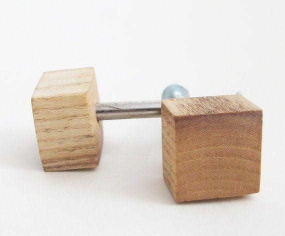 Oak Wood Knob Square Handle Furniture Modern Drawer Wooden Pull
